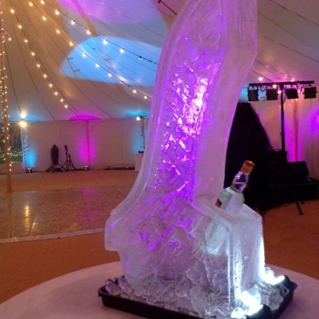 rear view of the Ski Jump Vodka Luge from Passion for Ice