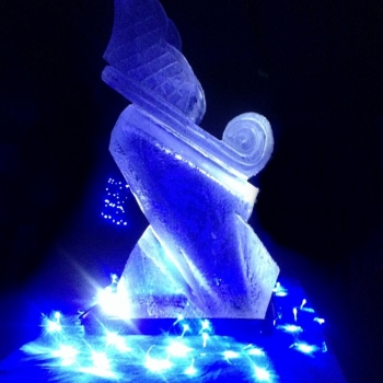 Side view of Winter Wonderland Sleigh Vodka Luge from Passion for Ice