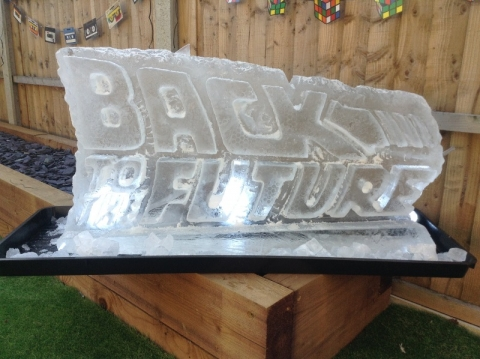 Back to the Future Logo created as a Vodka Luge from Passion for Ice