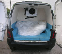 Refrigerated van for transporting Ice Sculptures