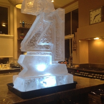 "Side-view of Half-size ""21""-shaped Vodka Luge from Passion for Ice"