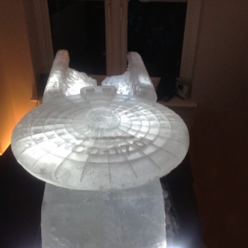 Close-up of Starship Enterprise Vodka Luge from Pasion for Ice