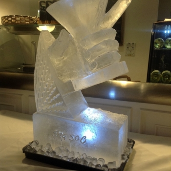 side angle view of a Hand holding a Martini Glass Vodka Luge from Passion for Ice