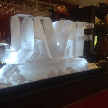 Side view of JVF Initials Vodka Luge from Passion for Ice