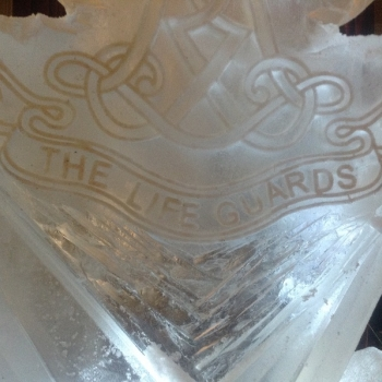 Close-up of the Life Guards Vodka Luge from Passion for Ice