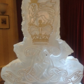 Close-up of the CNC work of the Life Guards Vodka Luge from Passion for Ice