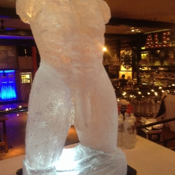 right side view of Frontal short of Male Torso Vodka Luge from Passion for Ice