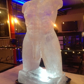 Left side view of Frontal short of Male Torso Vodka Luge from Passion for Ice