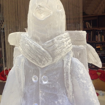 Close-up of British Gas Penguin Vodka Luge from Passion for Ice