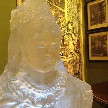 Close-up of Queen Victoria Bust Vodka Luge from Passion for Ice