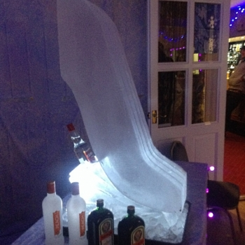 Side view of Vodka Bottle holder Ski Jump Vodka Luge from Passion for Ice