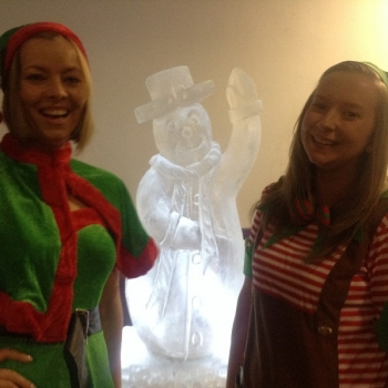 Santa's Helpers with Snowman Vodka Luge from Passion for Ice