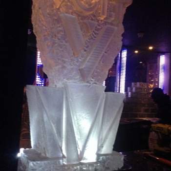 Side view of Volt Logo Vodka Luge from Passion for Ice