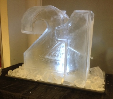 "A ""21"" Half-size Vodka Luge from Passion for Ice"