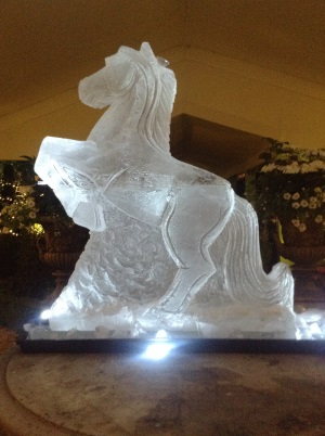 Ice sculpture for Wedding - a rearing horse